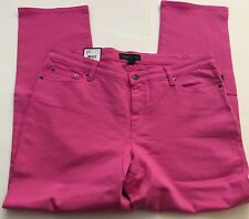 NWT~RALPH LAUREN PLUS~PINK SLIMMING MODERN STRAIGHT ANKLE JEANS~SIZE 16/16W~NEW