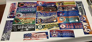 "Peninsula Vending MLB Baseball Team Foil Bumper Stickers Lot Of 21 (2 1/2"" X 8"")"