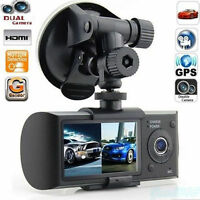 GPS Dual Lens Camera HD Car DVR Dash Cam Video Recorder G-Sensor Night Vision US