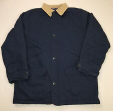 Polo Ralph Lauren Mens Canvas Barn Coat Chore Jacket Size XL Blue Fleece Lined