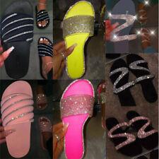 Women Diamante Flat Slippers Slip On Sandals Ladies Lounge Flip Flop Shoes Size