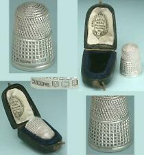 Lovely Antique English Sterling Silver Thimble in Case * 1900 Hallmarks