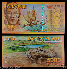 EASTER ISLAND 5000 RONGO POLYMER BANKNOTE 2012 UNC