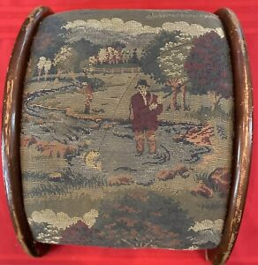 """Antique/Vintage Wooden Footrest Curved 6.5"""" High Fabric Covered w/Fishing Motif"""