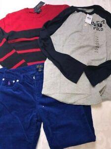 Ralph Lauren 5 pcs set: pants +sweater +teeshirt + scarf + hat boys 14-16 L $210
