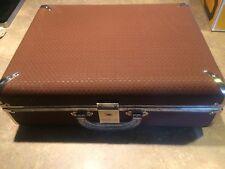 "Vintage Brown Weave Look Decorator Hard Side Hardcase Suitcase 17"" x 6"" x 13"""