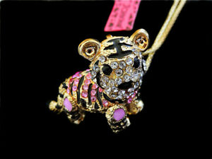 Betsey Johnson Bling Purple Crystal Enamel Tiger Pendant Sweater Chain Necklace