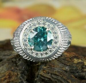 4.24 Ct Green Diamond Solitaire 925 Silver Men's Ring With Accents