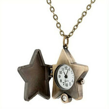Retro Vintage Pocket Watch Lucky Star Steampunk Women's Gift Necklace Chain