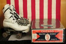Vintage Chicago Womens White Leather Roller Skates 78Spl Wheels Sz.8 w/Store Box