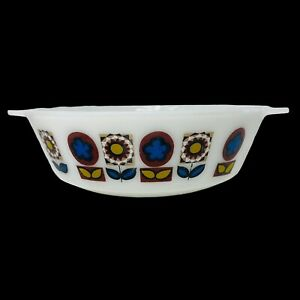 "Vintage JAJ 1960's ""INDIANA"" 509 casserole dish mod flower pattern 2 PT white"