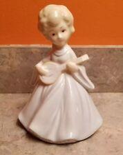 Ceramic Porcelain Girl Pale Blue & Cream Dress  Ukulele Angel Christmas Carolers