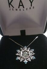 Sterling Silver SNOWFLAKE Blue & White Topaz  Rhythm- in Motion Necklace KAY'S