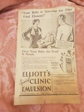 Elliot's Special Clinic Emulsion 1933 Advertisement
