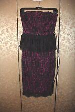 Robert Rodriguez NWT Black Hot Pink Multi-Color Floral Lace Peplum Dress 2