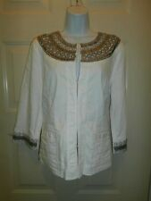 NEW NWT CHICOS TOP SIZE 1 BEADED $139 LILO SILVER MEDALLION JACKET POCKETS