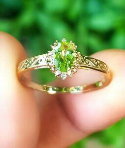 Genuine Peridot Diamond 9K Yellow Solid Gold Ring Engagement Cocktail Dress