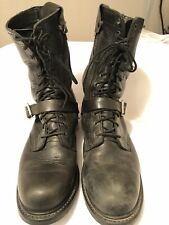 Double- H Black Motorcycle Boots Men's Lacer 8050 11 1/2 D 2G12532