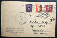 1945 Milan Italy Postcard Cover To Timisoara Romania Russian USSR Censorship