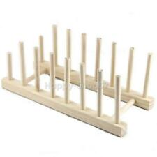 Wooden Plate Rack Wood Stand Display Holder Lids Holds 7 New Heavy Duty v#h9