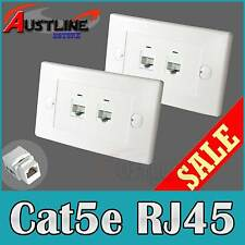 2x2 Port Wall Plates +4 Cat5e RJ45 Keystone Jacks w/Cap