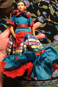 "1990 Avon Senorita 8"" Doll With Metal Stand Bright Color Great Detail"