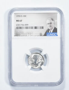 MS67 1955-S Roosevelt Dime - Graded NGC *662