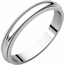 3mm Solid Platinum Milgrain Half Round Comfort Fit Wedding Band Ring All Sizes