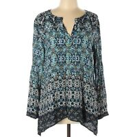 J. Jill Womens Top Size Medium Long Sleeve Wide Tunic Tribal Paisley Shirt