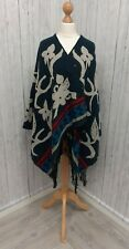 Women's Navy Blue Floral Wrap Poncho Style Cape Dorothy Perkins One Size