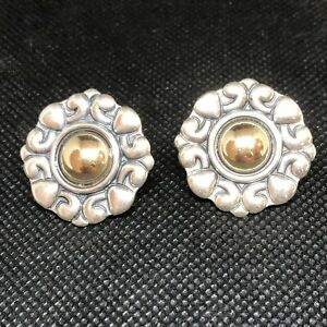 Retired James Avery Sterling Silver W Gold Center French Clip Earrings Omega