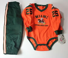 Miami University Hurricanes Baby 18 Month Embroidered One Piece & Pants Nwt