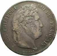 1834 FRANCE King Louis Philippe I French Antique Silver 5 Francs Coin i76113