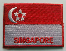 NATIONAL OLYMPIC COUNTRY FLAG (SMALL) SEW ON / IRON ON PATCH:- SINGAPORE
