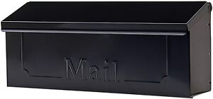 Wall Mount Black Mail Box Heavy Duty Galvanized Steel Extra Large Mailbox Home