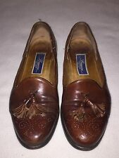 Bragano Cole Haan Brown Leather Brogue Tassel Loafers 9.5D Italy Men's Shoes