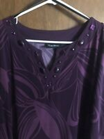 Womens Maggie Barnes Maroon patterned  V-Neck 3/4 length sleeves Blouse size 1X