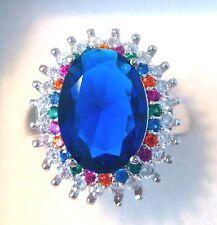 """GORGEOUS BLUE SAFFIRE DRESS   RING UK Size """"T"""" US 10.5"""