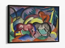 FRANZ MARC, THREE HORSES -FLOAT EFFECT CANVAS WALL ART PIC PRINT- BLUE PINK RED
