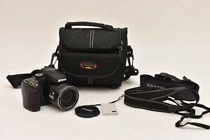 Untested Nikon Coolpix P500 Black 12.1MP Digital Camera No Charger In Black Case