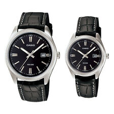CASIO DATE ANALOG LEATHER DRESS COUPLE LOVER PAIR MTP/LTP1302L-1A NEW CLASSIC