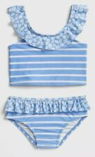 NWT Girls Gap Size 3T Blue Two Piece Striped Ruffle Swimsuit. Free Shipping!