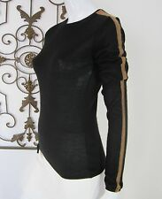 AKRIS LONG SLEEVELESS CREW NECK CASHMERE/SILK SWEATER SIZE 6, BLACK