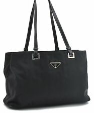 Authentic PRADA Nylon Leather Hand Tote Bag Black A5187