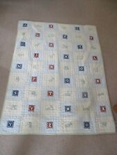 THE LAND OF NOD  Baby Crib Quilt Alphabet Squares Pastels Green/Blue/White