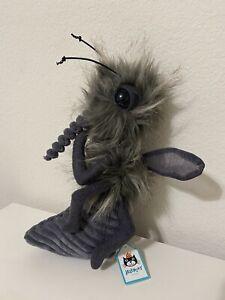 """Jellycat London Bodacious Bug Mosquito Grey Plush Stuffed Animal 12"""""""