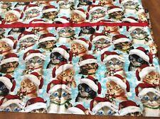 Handmade  Christmas Cats with Red Santa Hats 100% Cotton Pillowcase