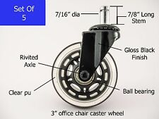 Office Chair Rollerblade Style  Wheel Casters Ball Bearing Axle 5 pc Set NEW