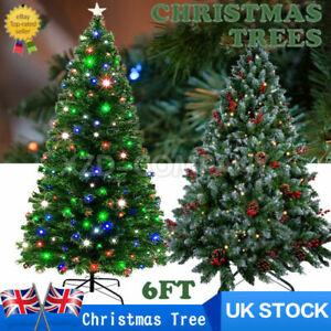 6ft 7ft LED Fibre Optic /Pine Cone Christmas Tree Xmas Trees Star Christmas Deco