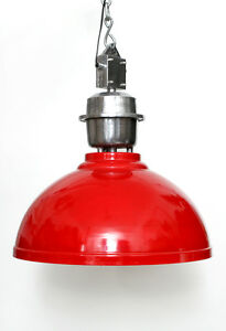 Pendulum Industrial Light Red Lamp from Metal Vintage Retro Factory Loft